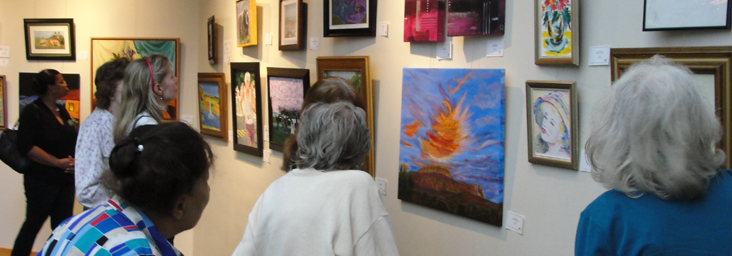 group viewing art show